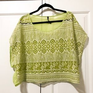 Lime Green Woven Crop Top